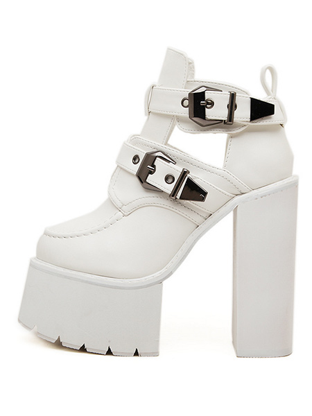 블랙피치Side Cut Out  Platform Ankle Boots