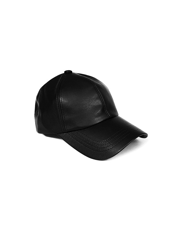 블랙피치Basic Faux Leather Baseball Cap