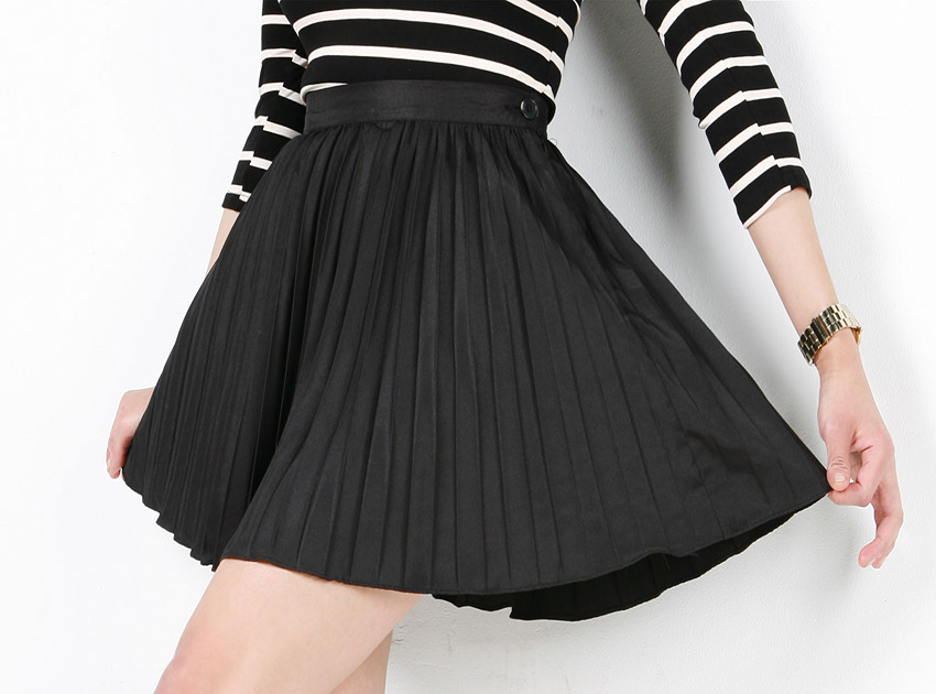 블랙피치(sale) Satin Pleats Skirt