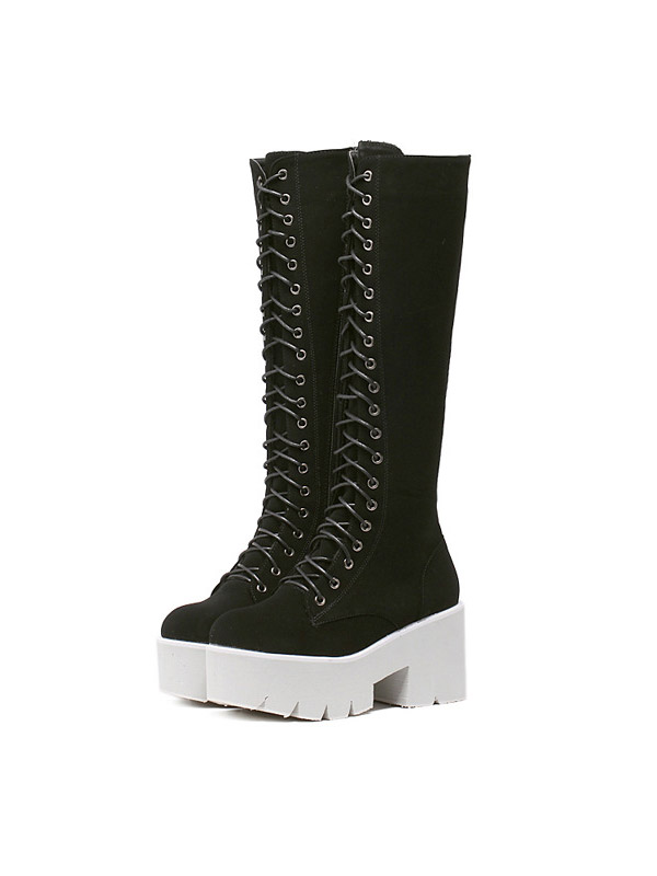 블랙피치Lace Up Long Boot