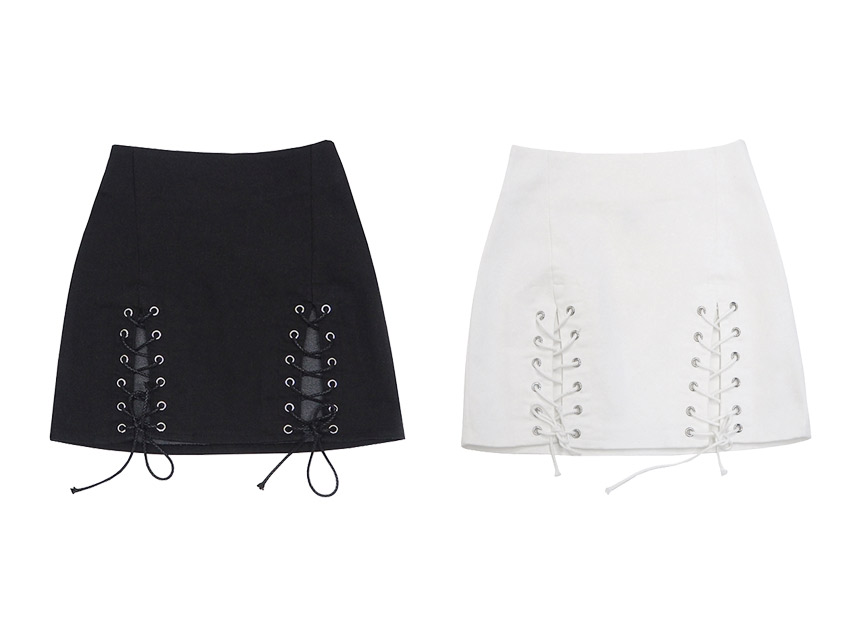 블랙피치Lace Up Mini Skirt