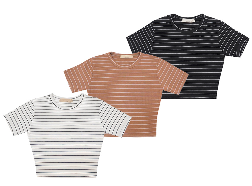 블랙피치Basic Stripe Crop Tee