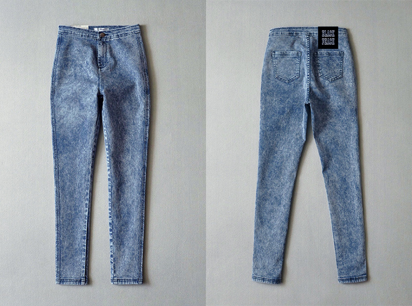 블랙피치Stone Washed High - Waist Skinny Jeans