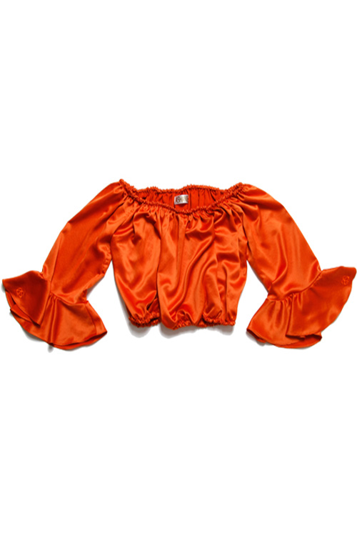블랙피치[ASHANIE] Satin Off Shoulder Top (Orange)