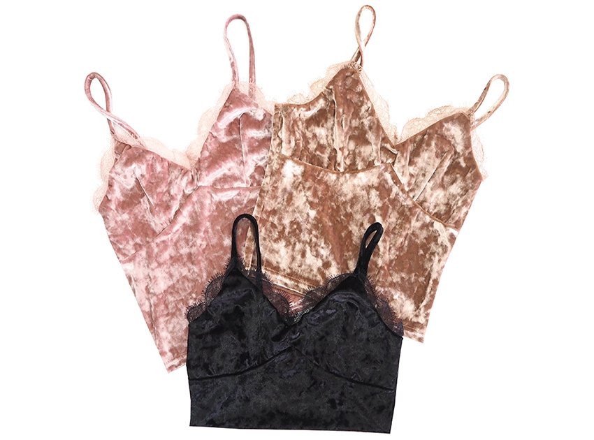 블랙피치Velvet Lace Camisole Top