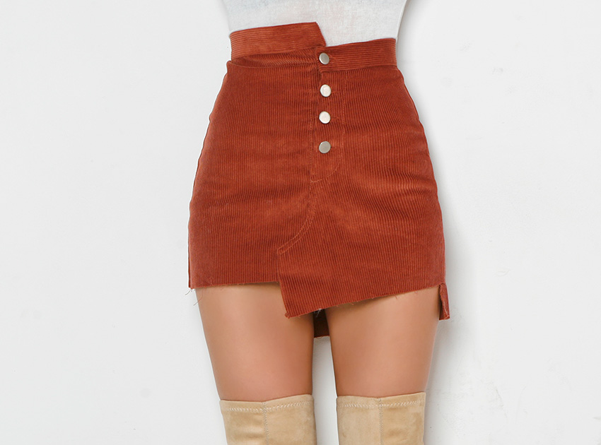 블랙피치(SALE) Corduroy Unbalance Mini Skirt