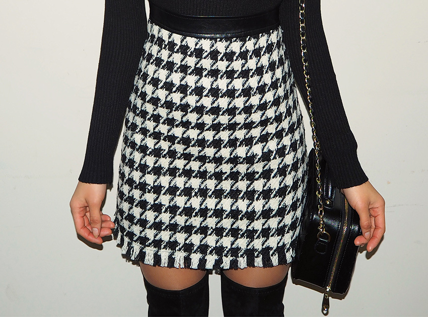 블랙피치(SALE) Hound Tooth Check Mink Skirt