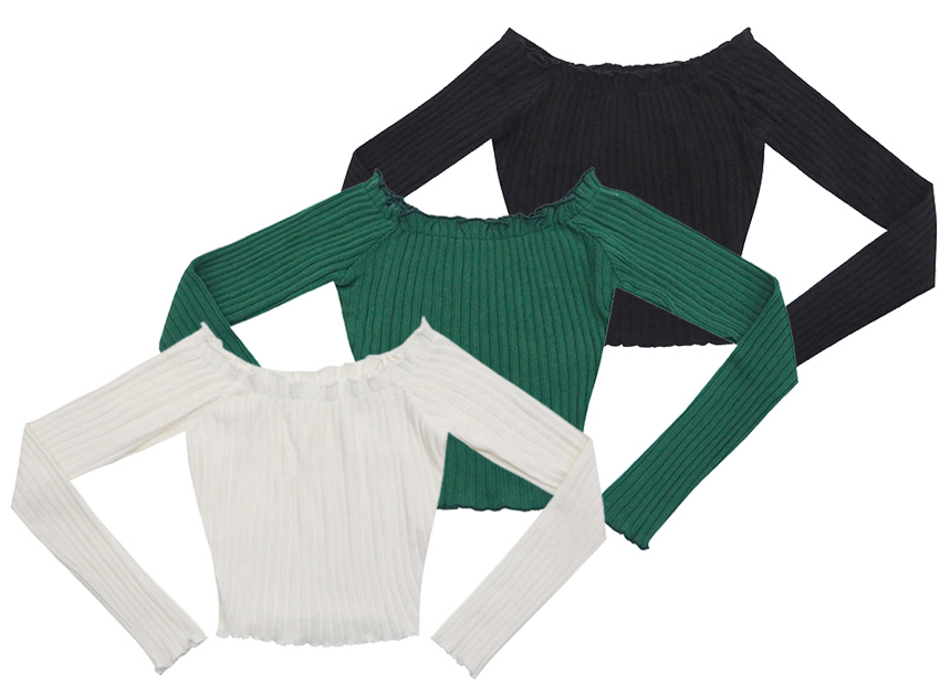 블랙피치Off Shoulder Rib Knit Crop Tee