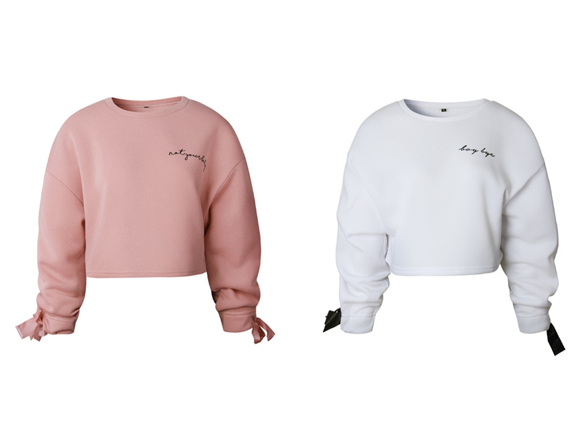 블랙피치Bow Tie Sleeve Crop Sweatshirt