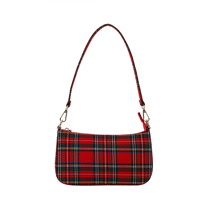블랙피치,Tartan Check Shoulder Bag