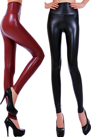 블랙피치Color High-waist Leather Leggings