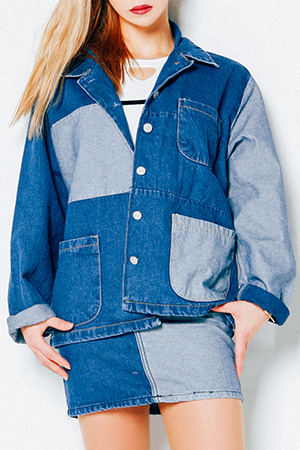 블랙피치(SALE) Color Block Patchwork Denim Jacket