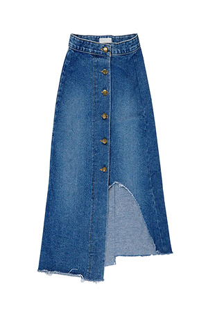 블랙피치Unbalance Button Up Denim Maxi Skirt