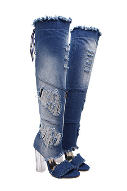 블랙피치Damage Denim Long Boots