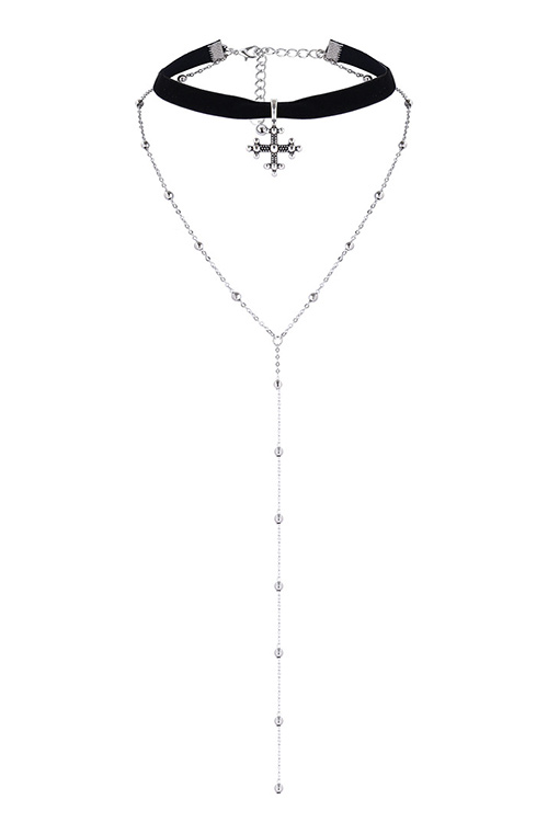블랙피치Drop Chain Cross Choker