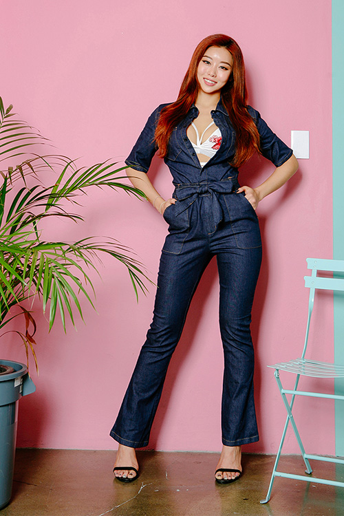 블랙피치(sale) Denim Boots Cut Jumpsuit