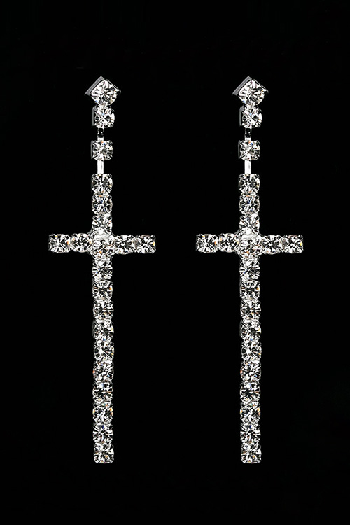 블랙피치Rhinestone Cross Drop Earring