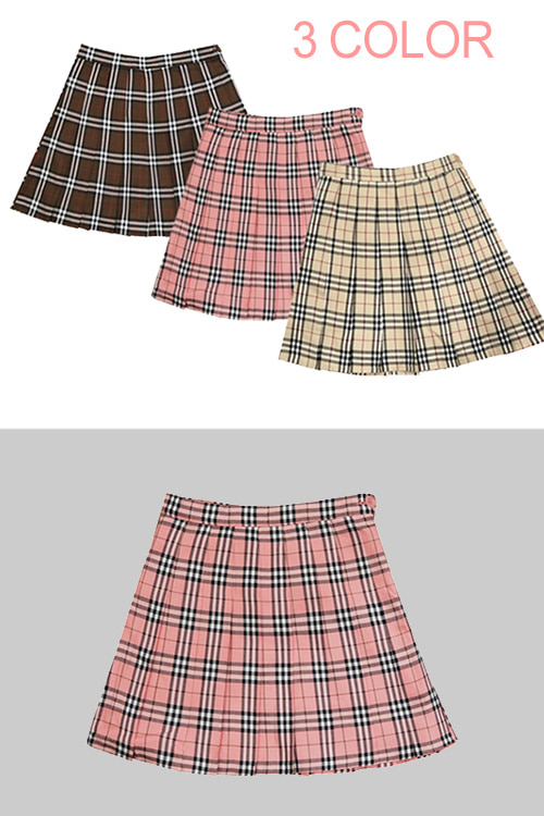 블랙피치London Check Pleats Skirt