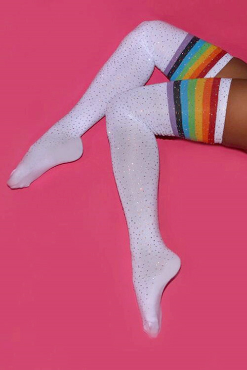 블랙피치Shiny Rhinestone Over Knee Socks