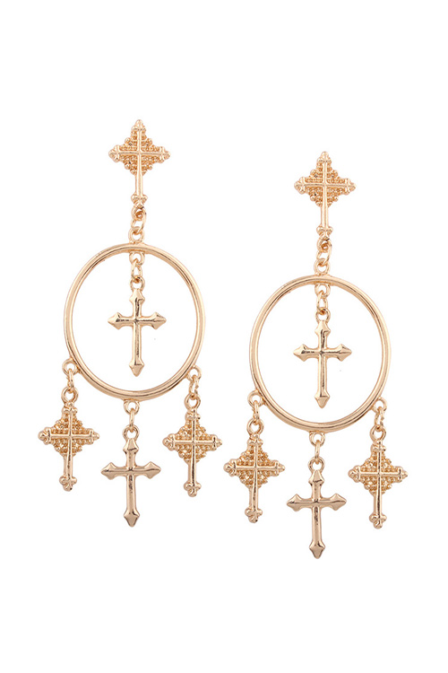 블랙피치Cross Chandelier Earring