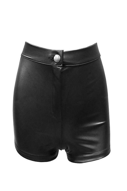 블랙피치,Faux Leather High Waist Shorts