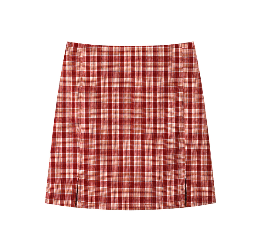 mini skirt coral color image-S4L4