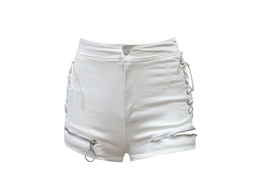 블랙피치(SALE) Side Lace Up Zipped Shorts
