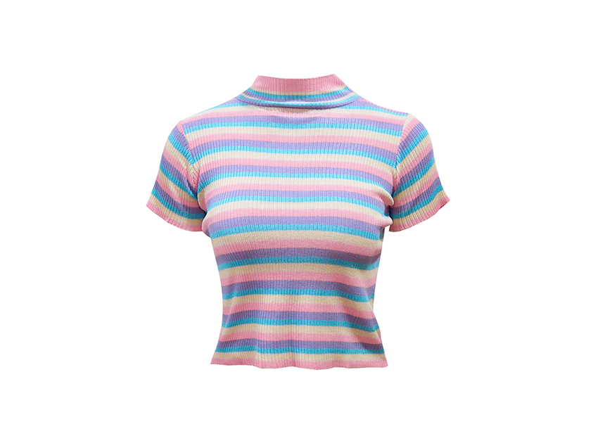 블랙피치Pastel Shades Stripe Knit Top