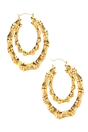 블랙피치(SALE) Double Bamboo hoops