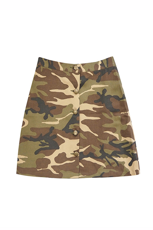 블랙피치Camouflage Button Up Skirt