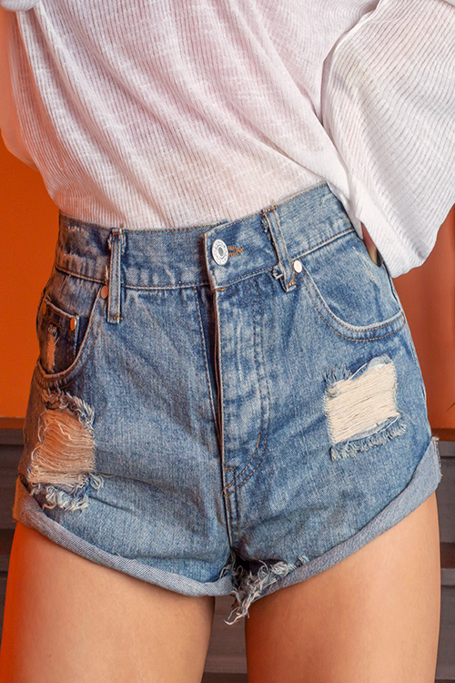 블랙피치(SALE) Damage Roll UP Denim Shorts (당일발송가능)