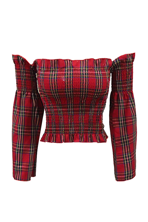 블랙피치Tartan Check Off Shoulder Top
