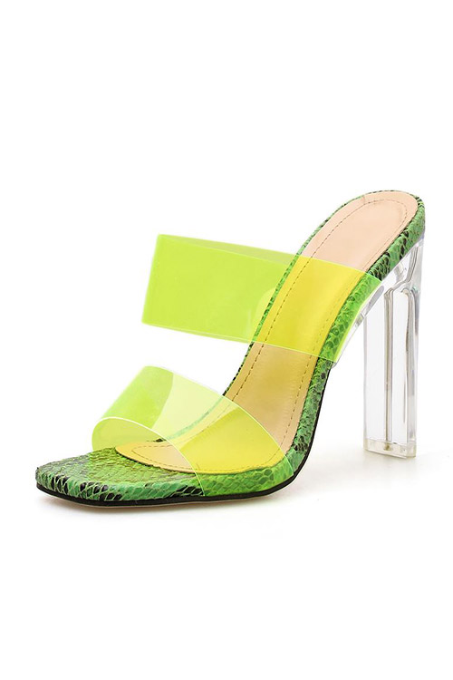 블랙피치Snake Print Faux Leather Clear Peep Toe Mule