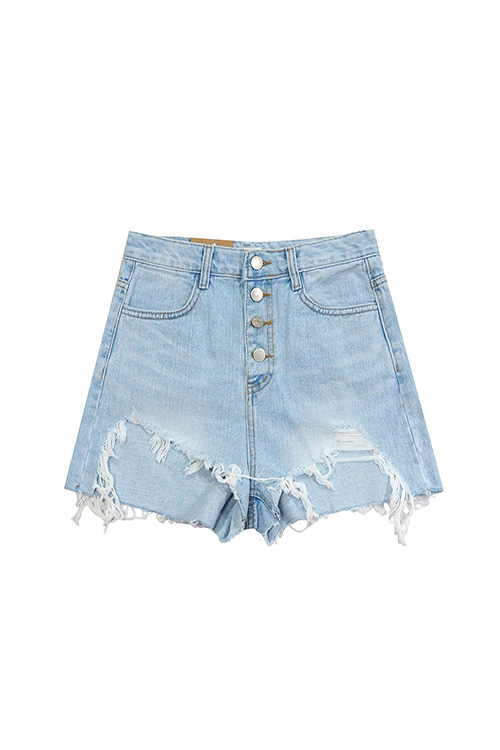 블랙피치Button Up Damage Denim Shorts